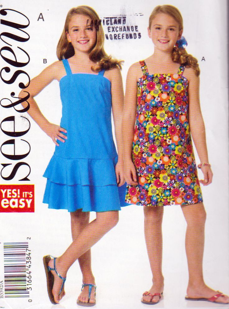 See and Sew 5592, Girls Sizes 7 to 16  Summer Dress Pattern, Front and Back Darts, Flounced Skirt or A Line Skirt, Sleeveless Dress, Uncut by OnceUponAnHeirloom on Etsy