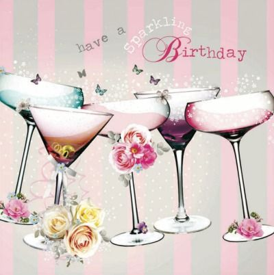 """Gorgeously girly #Birthday card from our Birdsong range, with a touch of vintage. The greeting inside reads """"Wishing you a fun-filled day!"""""""