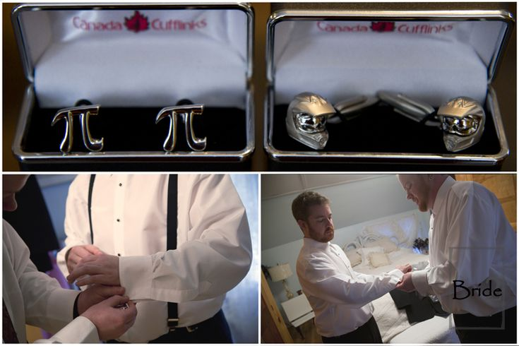 Pi Symbol and Harley Davidson helmets... what a cute way to show your individualism on your wedding day... custom cufflinks!