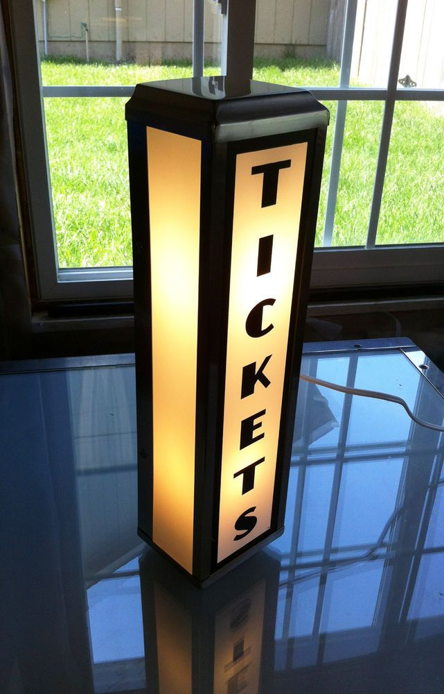 Art Deco Style Movie Theater Ticket Booth Lighted Wall Sign  Home Theater Decor