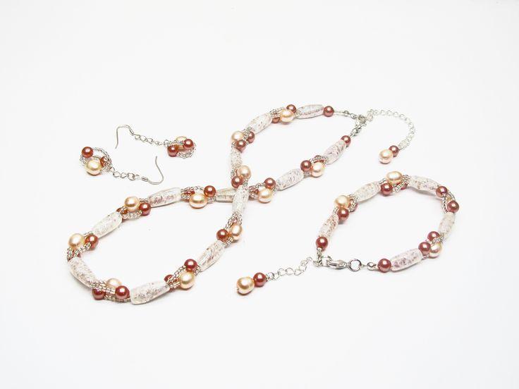 Parure romantique mariage ou soirée perles anciennes et perles de culture d'eau douce : Parure par murielcrea