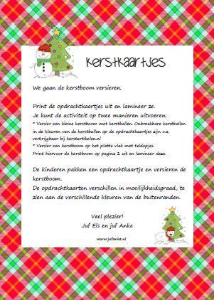 Kerstkaartjes - Versier de kerstboom met deze leuke opdrachtkaartjes. Tellen maar! Jufanke.nl