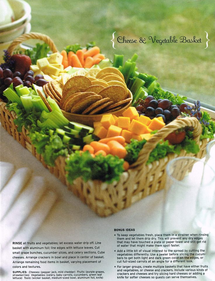 cheese, veggie and fruit basket