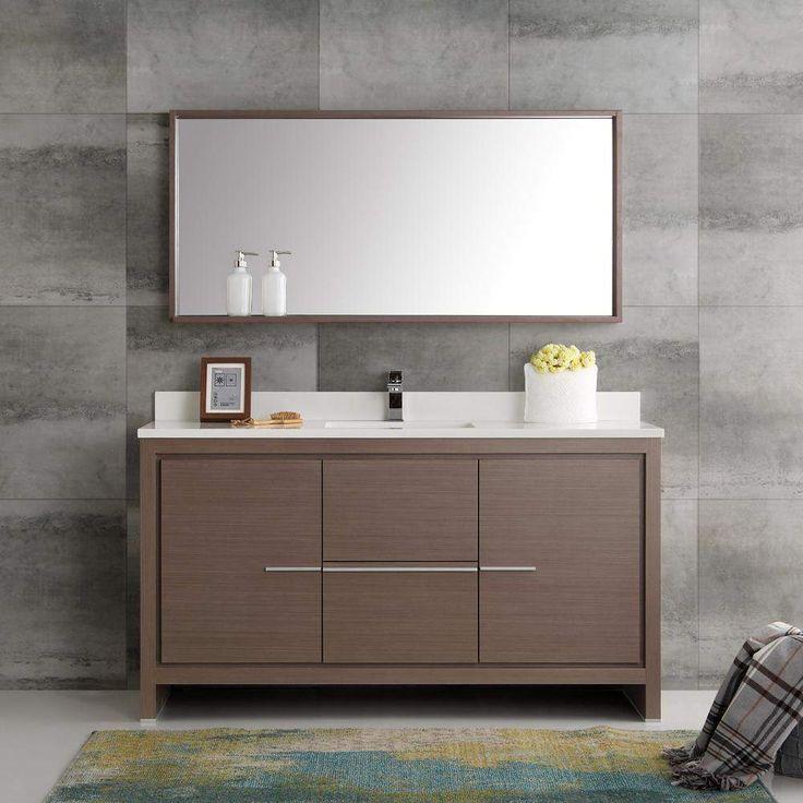 Fresca Allier 60 inch Modern Single Sink Vanity with Mirror FVN8119-S