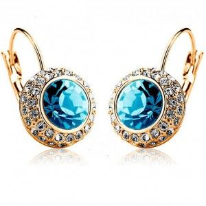 Blue Austrian Crystal Earring Gold Plated