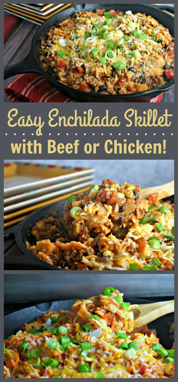 Easy Enchilada Skillet with Beef or Chicken ~ You'll love this versatile enchilada skillet recipe that can be made with chicken or beef!