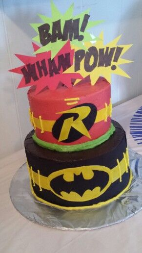 Batman and Robin cake Can order on facebook at Cakes & Candles by Nicole!
