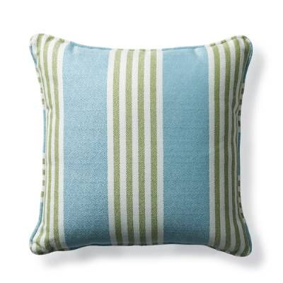 The Berwyn Stripe Aruba Outdoor Pillow offers versatile patterning perfect    for indoor or outdoor areas. Upholstered in an all-weather Sunbrella    acrylic fabric, this plush accent piece retains its luster and beauty    season after season.                100% Sunbrella solution-dyed acrylic fabric                        Resists fading, mold and mildew                    High-density polyester fill                    Spot clean with mild soap and water; air-dry only                    ...