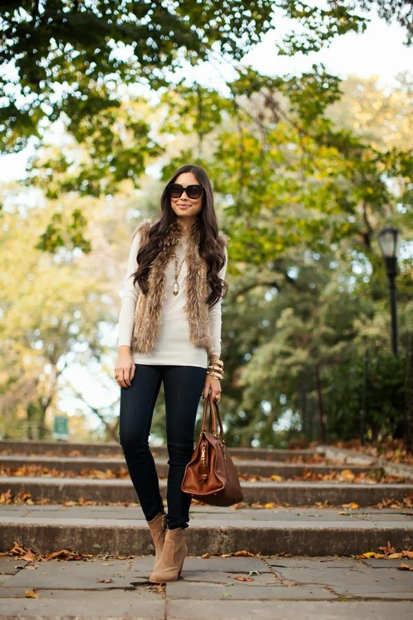 fur vest and sweater