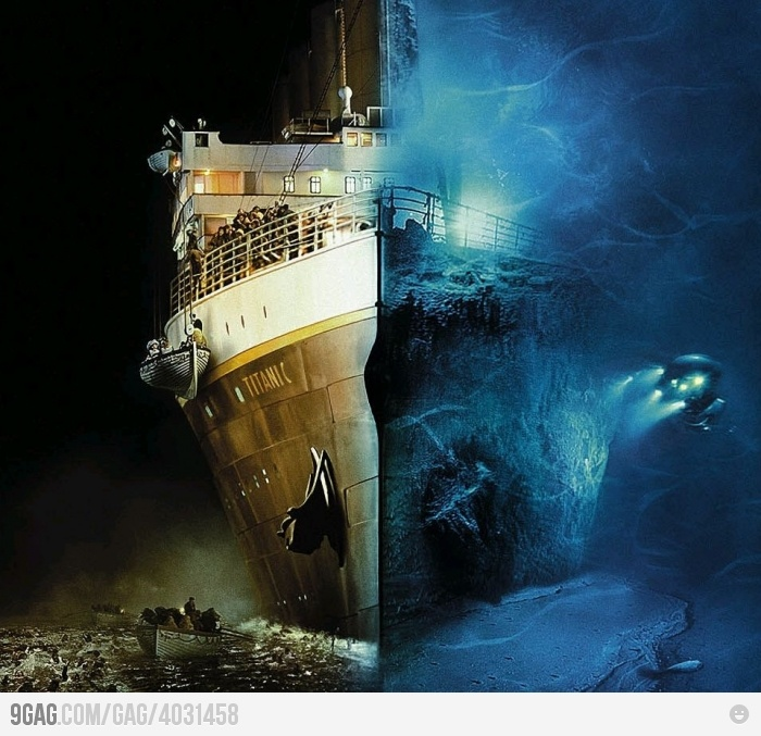 a very poignant image...it took the great ship 15 minutes to reach the ocean floor.