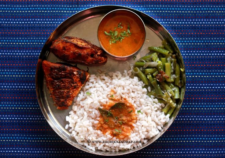 Ruchik Randhap (Delicious Cooking): Mangalorean Plated Meal Series - Boshi# 16 - Simple Fish Fry, Tomato Saar, Beans Thel Piao & Rice