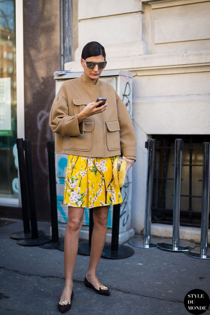 boxy jacket with printed skirt