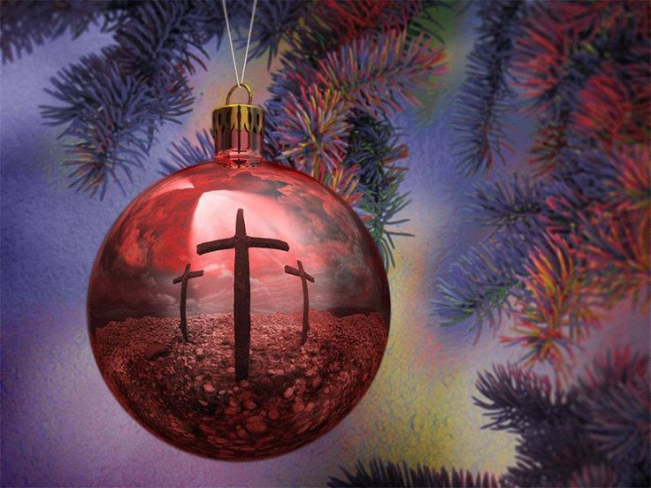 Cross reflected on Christmas ornament  ~ JESUS  IS  THE  REASON  FOR  THE  SEASON!