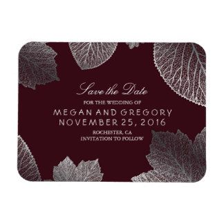 Fall Leaves Burgundy Silver Save the Date Rectangular Photo Magnet