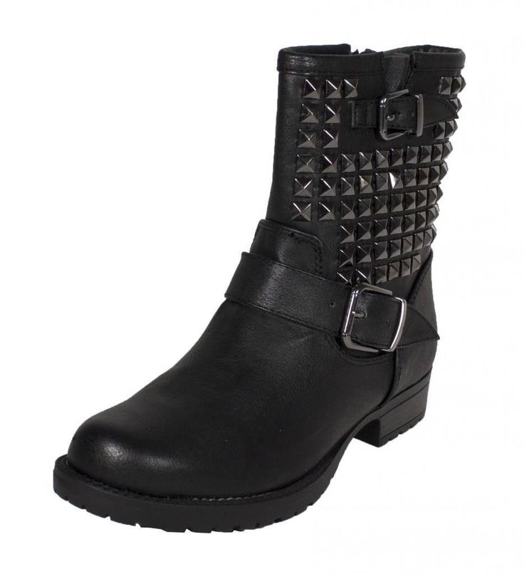 Lustacious Women'S Kist Side Metal Studded Double Buckle Strap Motor Ankle Boots