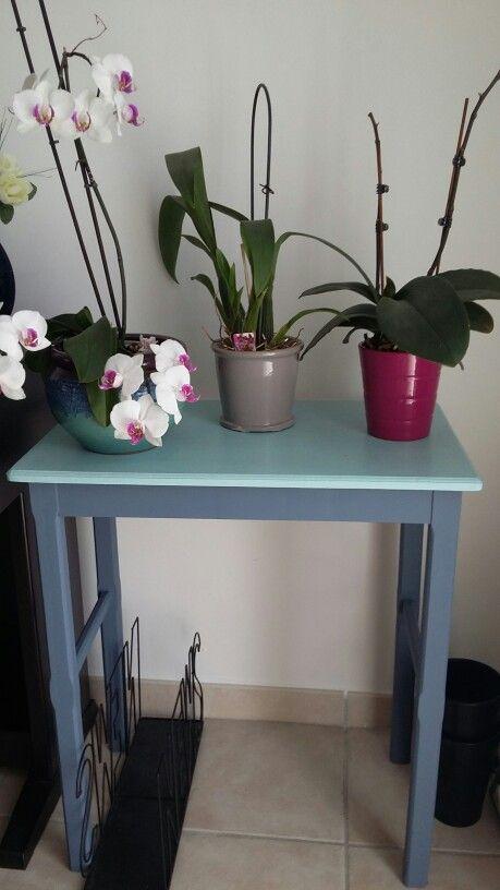 Rénovation console - peinture - orchidées
