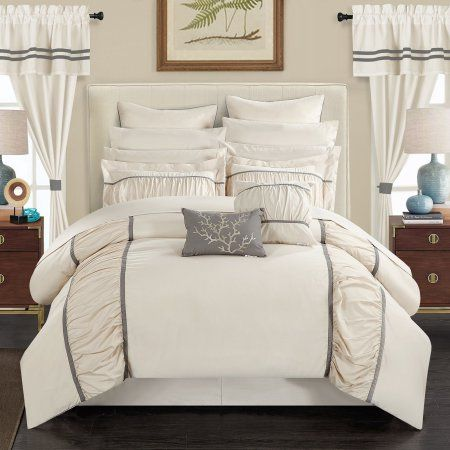 auburn 24piece bed in a bag queen comforter set by chic home beige