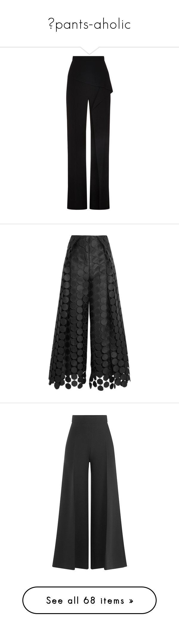 """""""pants-aholic"""" by heliaamado on Polyvore featuring pants, wide-leg pants, peplum pants, wide leg trousers, drapey pants, tailored pants, trousers, black, lace-up pants e pleated trousers"""