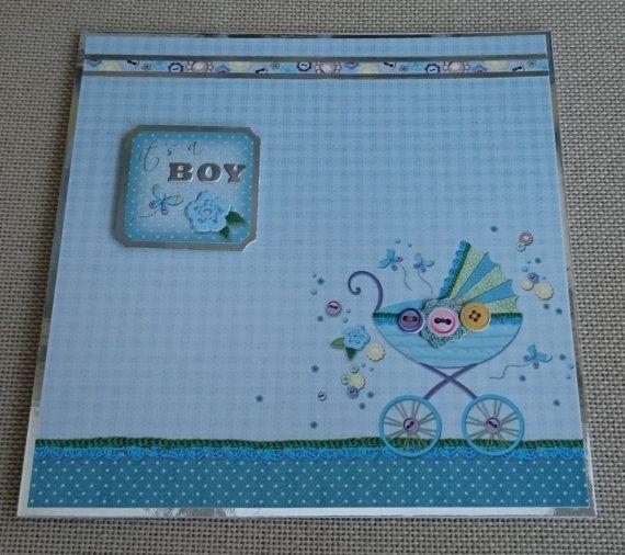 Handmade 7 x 7 Greeting Card  Baby Boy by BavsCrafts on Etsy