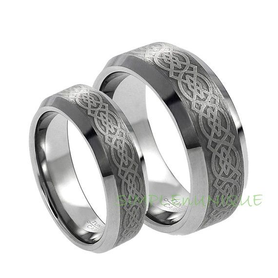 oooo purty 6mm and 8mm tungsten wedding bands for her and him metal type
