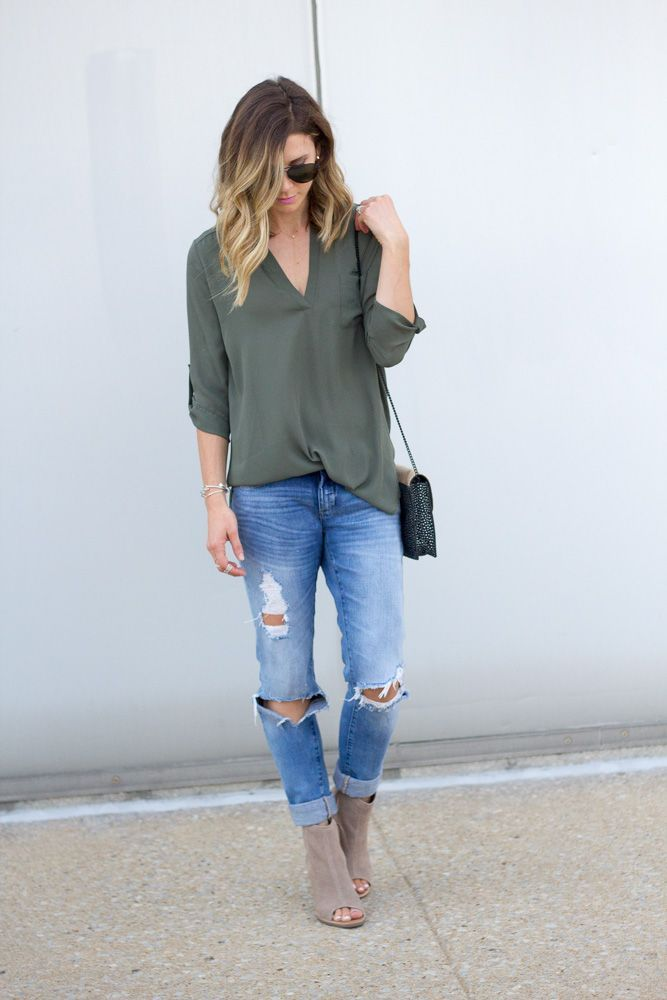 olive blouse + distressed/ripped jeans + taupe peep-toe booties https://tvcmatrix.com/ShanekaJones