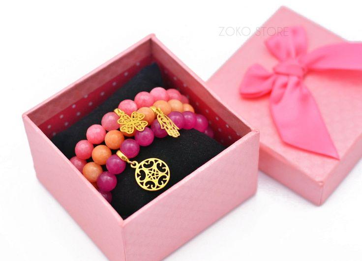 Bransoletki z różowych i pomarańczowych jadeitów <3 #bransoletka #bransoletki