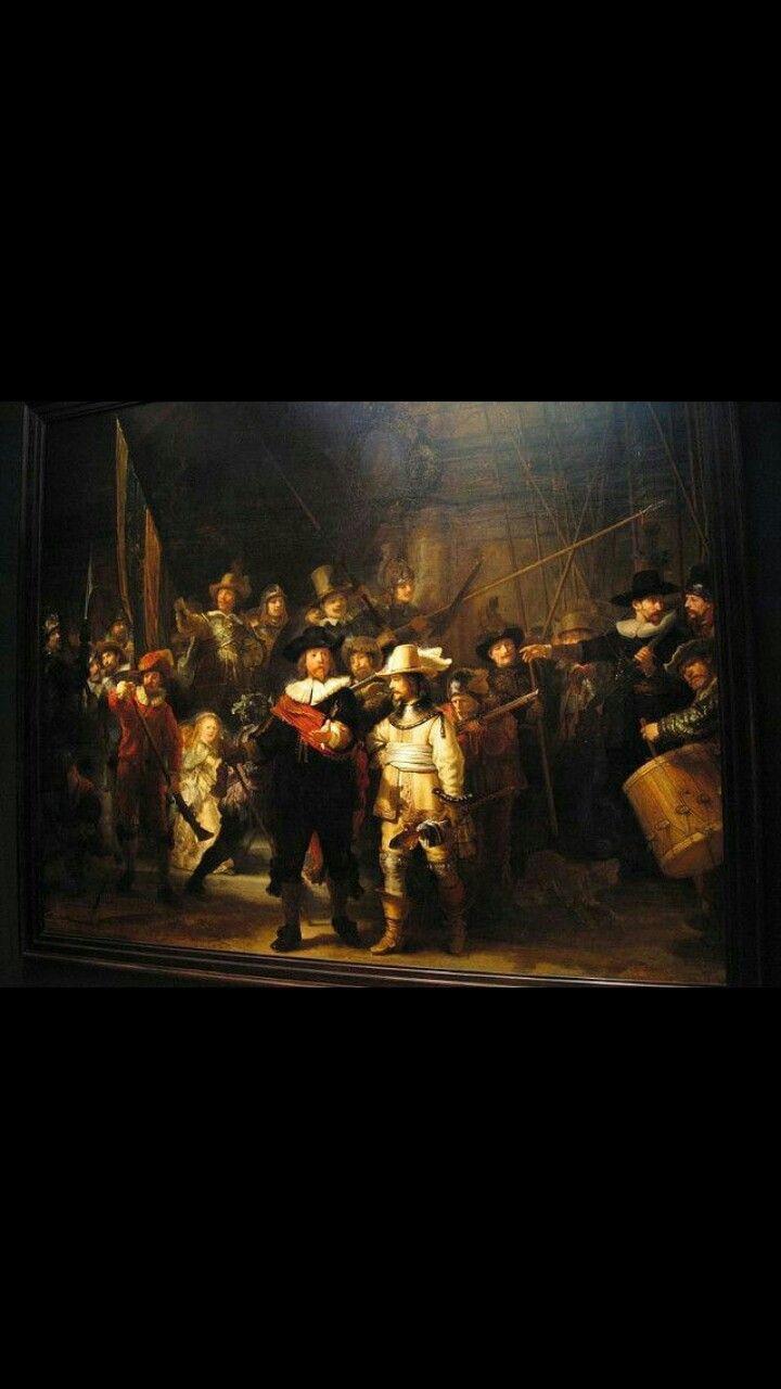 La Ronda De Noche Nightwacth Autor Rembrandt Año 1642 Técnica óleo Sobre Lienzo Estilo Barroco Ubicación Rijks Museum ámsterdam Países Painting Art