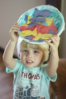 """""""A net full of fish"""" Bible story craft: Crafts Ideas, Fish Net, Bible Stories, Plastic Wrap, My Children, Paper Fish, Net Full, Children Ministry, Bible Crafts"""