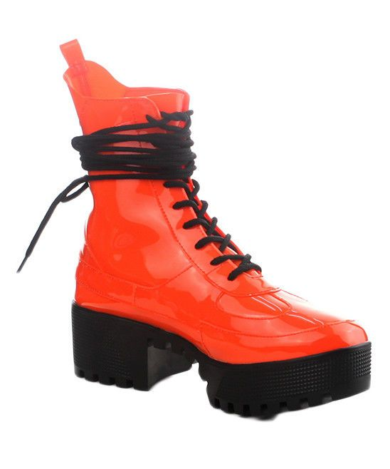b98069676 Cape Robbin DASHING Orange Lug Sole Lace Up Chunky Heel Platform Ankle Boot  #CapeRobbin #CombatBoots #CasualOutdoorParty