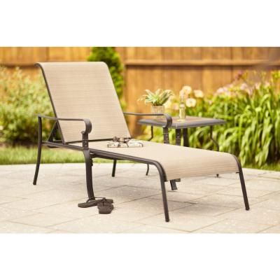 Hampton bay belleville patio chaise lounge fls80132 at the for Chaise longue jardin brico depot