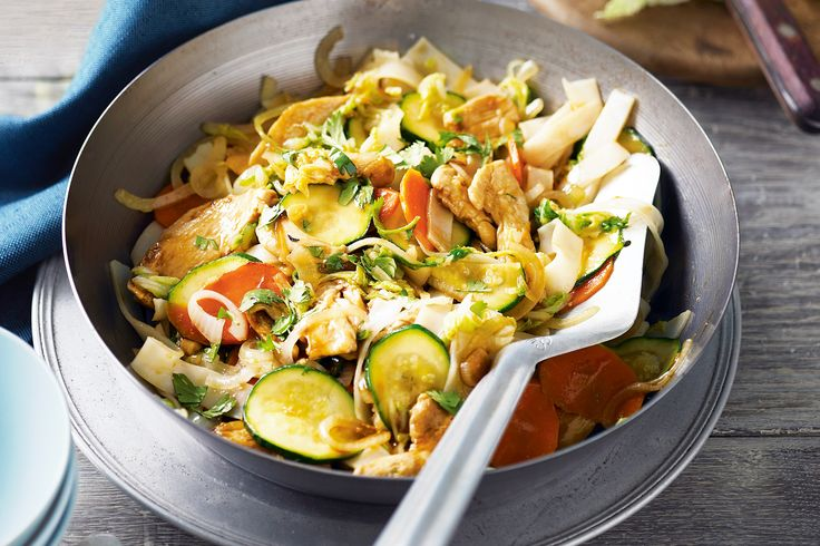 This dish gets a big tick from us - it's low-fat, great value and on the table in 25 minutes.  For a healthy weeknight meal, you can rely on this Japanese-style stir-fry with sweet soy, rice noodles, tender chicken and tasty vegies.