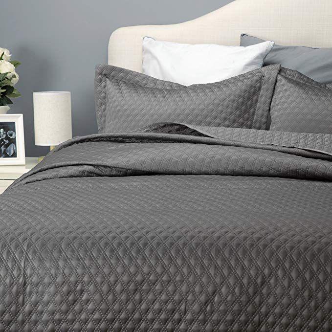 Bedsure Reversible Quilt Set Solid Grey Diamond Pattern Soft Bedspread Coverlet