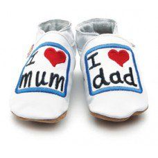 I Love Mum & Dad White Soft Leather Baby Shoes Made and supplied by Star Child Shoes in #Leicestershire - £19.50