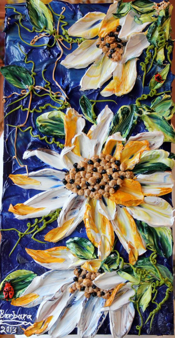 Butterfly Kisses and Ladybug Hugs - a 12x24 impasto painting by Barbara Scharpf of Creative Womanhood.
