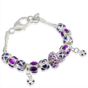 Purple Charms Heart Pendant Pandora Style Bracelet