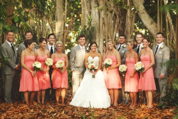 Coral Bridesmaid Dresses with Gray Groomsmen Suits... Love this color scheme!