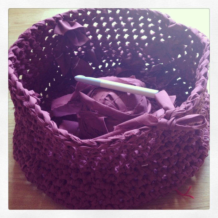 My crocheted fabric log basket is coming along nicely!