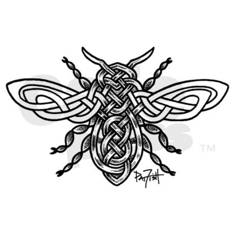 Celtic Knotwork Bee - black lines Decal on CafePress.com