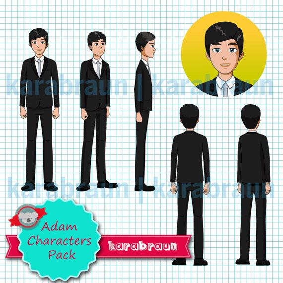 Char 001 Adam Characters Pack, digital character, illustration, elearning, presentation, powerpoint, animation [Char001Adam]