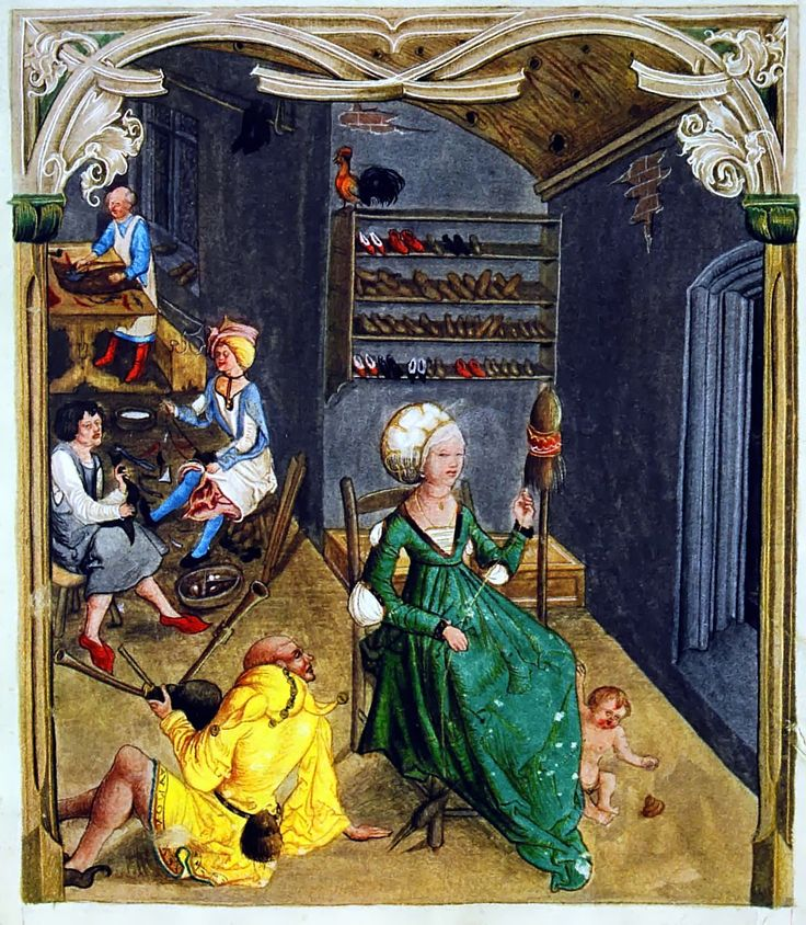 Cordwainer (shoe maker) shop from Balthasar Behem Codex | Krakow-Biblioteca Jagiellonska Ms 16, 1505