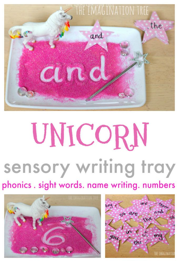 Unicorn Sensory Writing Tray - The Imagination Tree
