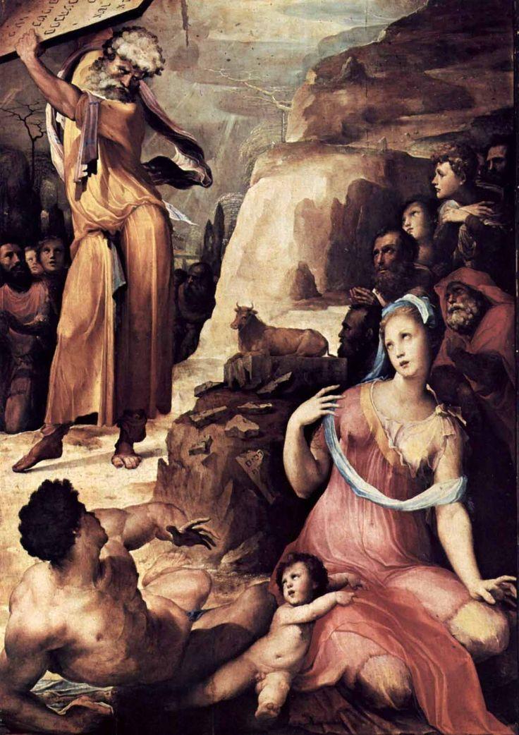 Доменико Беккафуми . «Моисей разбивает скрижали Завета» 1537 Дерево. Пиза. Кафедральный собор.