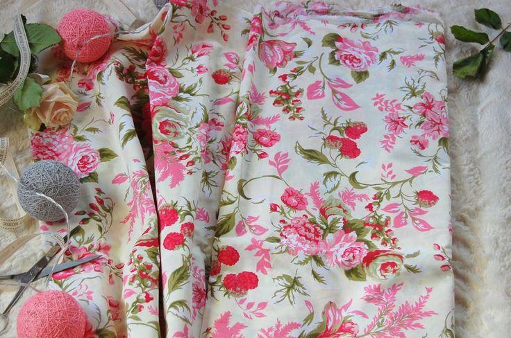 Tkanina bawełniana różowe róże  Fabric pink roses