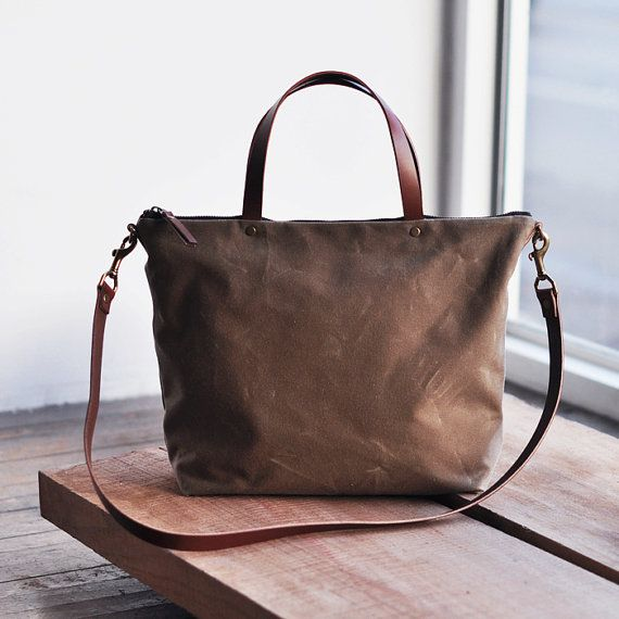 CARRY BAG  waxed canvas by bookhouathome on Etsy, $120.00 could use as diaper bag too!