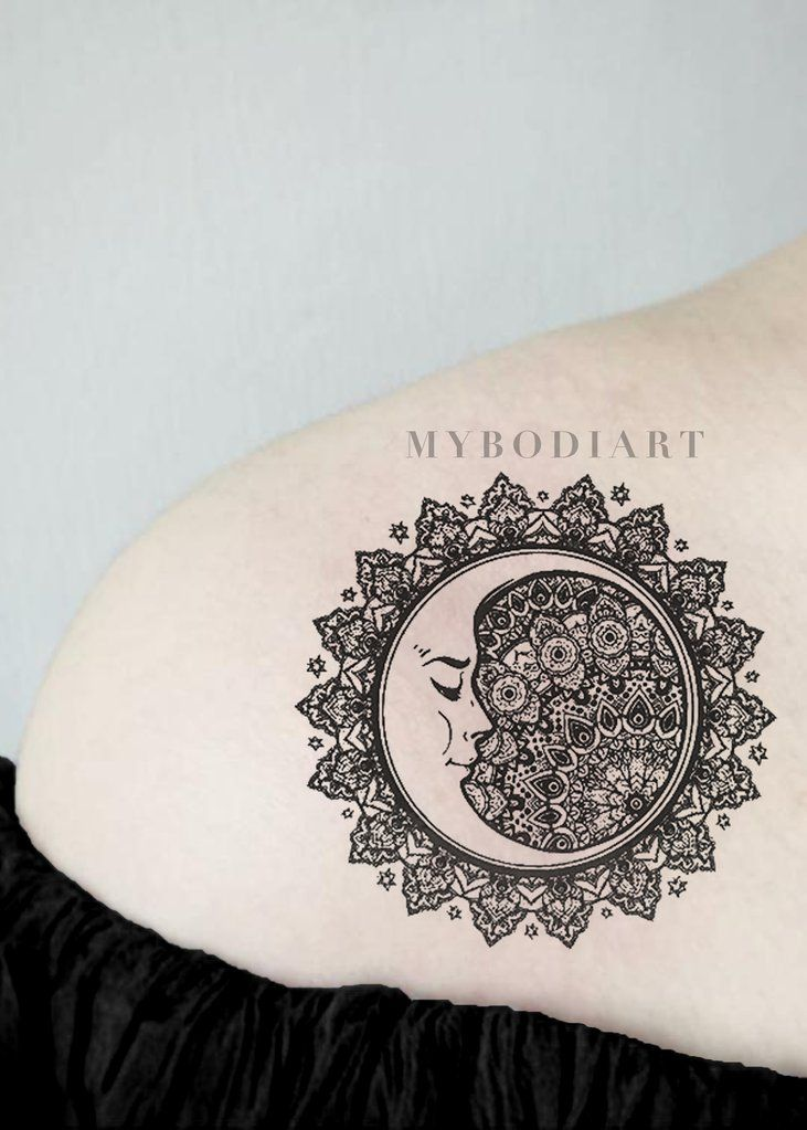 ba0a316047d20 Cool Black Tribal Mandala Shoulder Tattoo Ideas for Women - Sacred  Geometric Moon Arm Tat for Teen Girls - www.MyBodiArt.com #tattoos