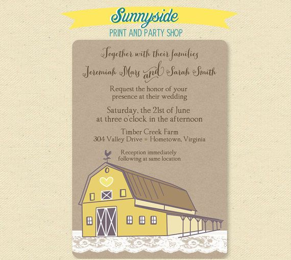 Printable Digital Rustic Farm Barn Wedding Invitation These Would Look Great Printed On Our Eco