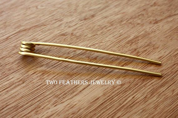 Solid Brass coiled hair fork