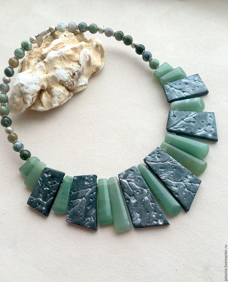 """Купить Колье с авантюрином и полимерной глины """"Сказки леса"""" - тёмно-зелёный, зеленый, агат"""