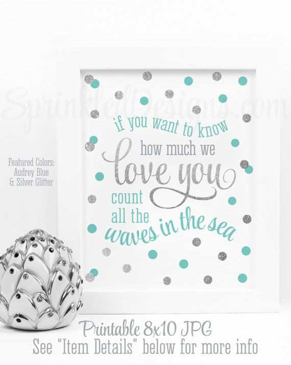 If you want to know how much we love you count all the waves in the sea, Printable Girls Room Art Mermaid Party Audrey Blue Silver Glitter by SprinkledDesigns.com