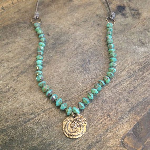 "Turquoise & Bronze Mermaid Necklace, Hand Knotted Bohemian Jewelry ""Beach Chic"""